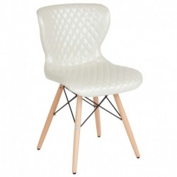 MFO Oxford Collection Contemporary Upholstered Chair with Wooden Legs in Ivory Vinyl