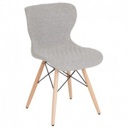 MFO Oxford Collection Contemporary Upholstered Chair with Wooden Legs in Light Gray Fabric