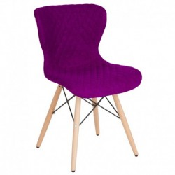 MFO Oxford Collection Contemporary Upholstered Chair with Wooden Legs in Purple Fabric