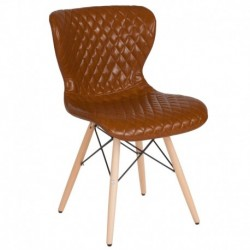 MFO Oxford Collection Contemporary Upholstered Chair with Wooden Legs in Saddle Vinyl