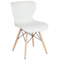 MFO Oxford Collection Contemporary Upholstered Chair with Wooden Legs in White Vinyl