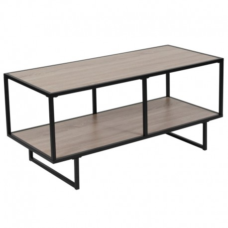 MFO Stanford Collection Oak Wood Grain Finish TV Stand with Black Metal Frame