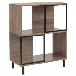"MFO Princeton Collection 2 Shelf 26""W x 31.5""H Bookcase and Storage Cube in Rustic Wood Grain Finish"