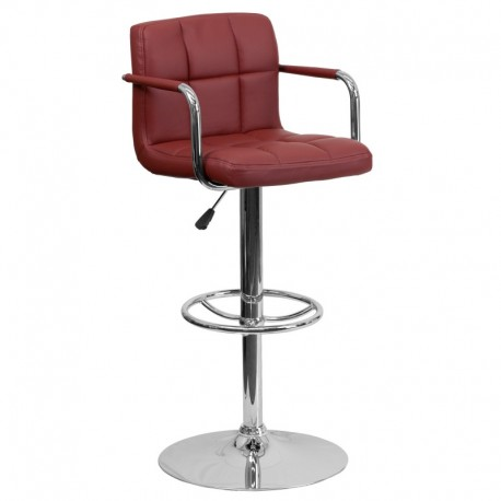 MFO Contemporary Burgundy Quilted Vinyl Adjustable Height Bar Stool with Arms and Chrome Base