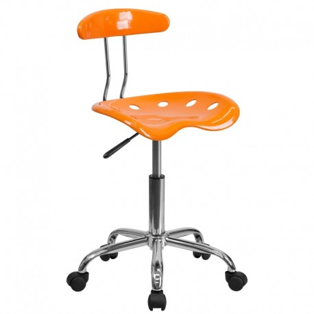 MFO Vibrant Orange and Chrome Computer Task Chair with Tractor Seat