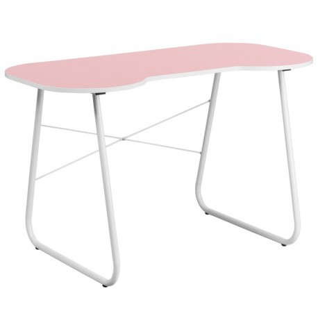 MFO Pink Computer Desk with White Frame