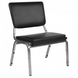 MFO 1500 lb Rated Black Antimicrobial Vinyl Churchillatric Chair, 3/4 Panel Back & Silver Vein Frame