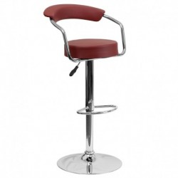 MFO Contemporary Burgundy Vinyl Adjustable Height Bar Stool with Arms and Chrome Base