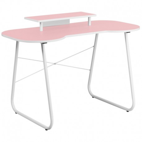 MFO Pink Computer Desk with Monitor Platform and White Frame