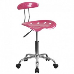 MFO Vibrant Pink and Chrome Computer Task Chair with Tractor Seat