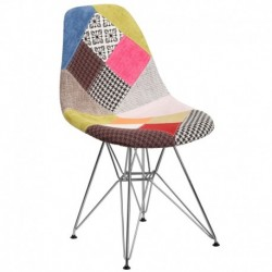 MFO Diana Collection Milan Patchwork Fabric Chair with Chrome Base