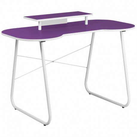 MFO Purple Computer Desk with Monitor Platform and White Frame