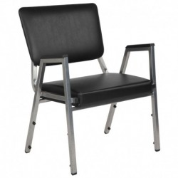 MFO 1500 lb Rated Black Antimicrobial Vinyl Churchillatric Arm Chair, 3/4 Panel Back & Silver Vein