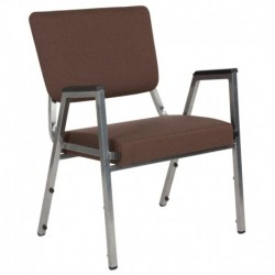 MFO 1500 lb Rated Brown Antimicrobial Fabric Churchillatric Arm Chair, 3/4 Panel Back & Silver Vein