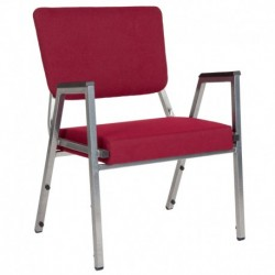 MFO 1500 lb Rated Burgundy Antimicrobial Fabric Churchillatric Arm Chair, 3/4 Back & Silver Vein