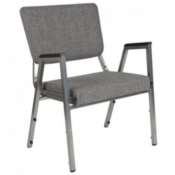MFO 1500 lb Rated Gray Antimicrobial Fabric Churchillatric Arm Chair, 3/4 Panel Back & Silver Vein