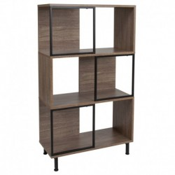 "MFO Stanford Collection 3 Shelf 26""W x 45.25""H Bookcase and Storage Cube in Rustic Wood Grain Finish"