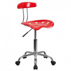 MFO Vibrant Red and Chrome Computer Task Chair with Tractor Seat