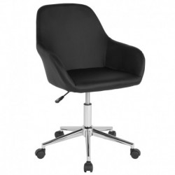 MFO Colette Collection Mid-Back Chair in Black Leather