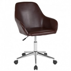 MFO Colette Collection Mid-Back Chair in Brown Leather