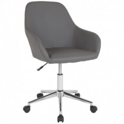 MFO Colette Collection Mid-Back Chair in Gray Leather