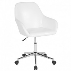 MFO Colette Collection Mid-Back Chair in White Leather