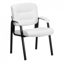 MFO White Leather Executive Side Reception Chair with Black Metal Frame