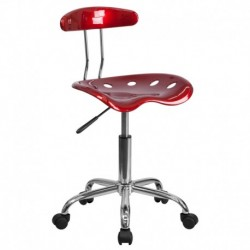 MFO Vibrant Wine Red and Chrome Computer Task Chair with Tractor Seat