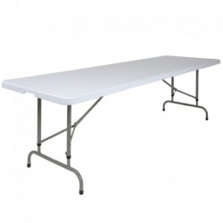 MFO 30''W x 96''L Height Adjustable Granite White Plastic Folding Table