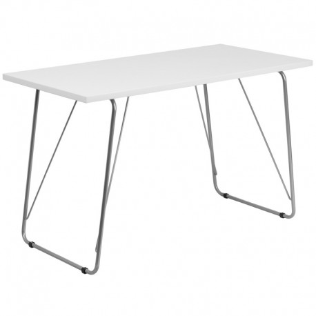 MFO White Computer Desk with Silver Frame