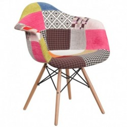 MFO Crew Collection Milan Patchwork Fabric Chair with Wooden Legs
