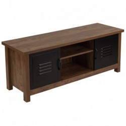 MFO Benjamin Collection Crosscut Oak Wood Grain Finish Storage Bench with Metal Cabinet Doors