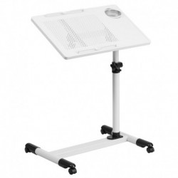 MFO White Adjustable Height Steel Mobile Computer Desk