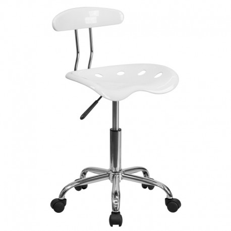 MFO Vibrant White and Chrome Computer Task Chair with Tractor Seat