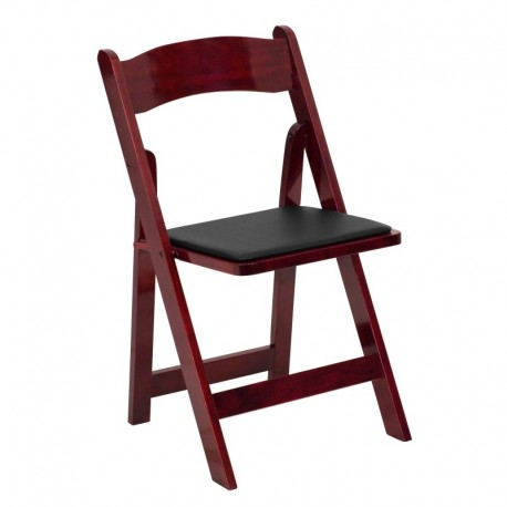 MFO Mahogany Wood Folding Chair with Vinyl Padded Seat