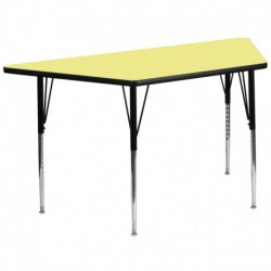 MFO 29.5''W x 57.25''L Trapezoid Yellow Thermal Activity Table - Standard Height Adjustable Legs
