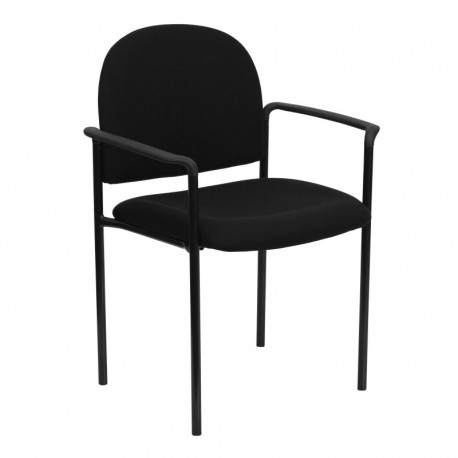 MFO Black Fabric Comfortable Stackable Steel Side Chair with Arms