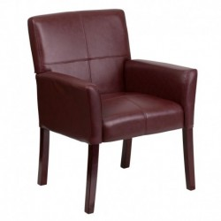 MFO Burgundy Leather Executive Side Reception Chair with Mahogany Legs