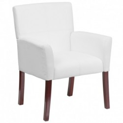 MFO White Leather Executive Side Reception Chair with Mahogany Legs