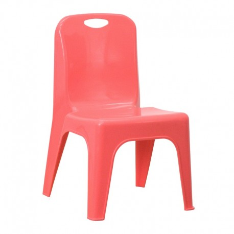 MFO Red Plastic Stackable School Chair with Carrying Handle and 11'' Seat Height