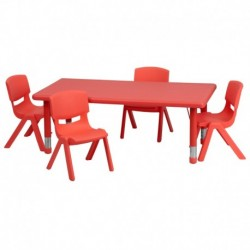 MFO 24''W x 48''L Rectangular Red Plastic Height Adjustable Activity Table Set with 4 Chairs