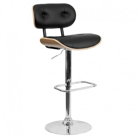 MFO Beech Bentwood Adjustable Height Bar Stool with Button Tufted Black Vinyl Upholstery
