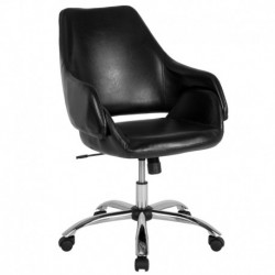 MFO Venice Collection Mid-Back Chair in Black Leather