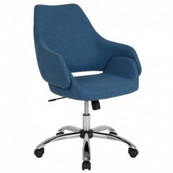 MFO Venice Collection Mid-Back Chair in Blue Fabric