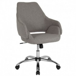 MFO Venice Collection Mid-Back Chair in Light Gray Fabric