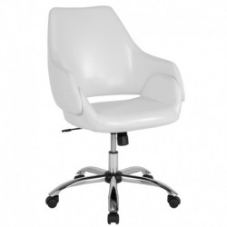 MFO Venice Collection Mid-Back Chair in White Leather