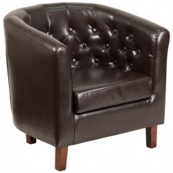 MFO Oxford Collection Brown Leather Tufted Barrel Chair