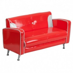 MFO Kids Red and White Loveseat