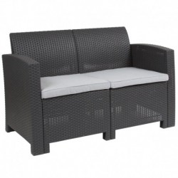 MFO Dark Gray Faux Rattan Loveseat with All-Weather Light Gray Cushions