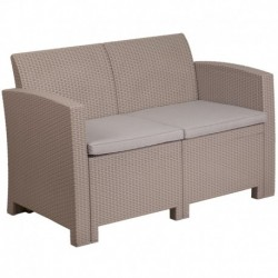 MFO Light Gray Faux Rattan Loveseat with All-Weather Light Gray Cushions